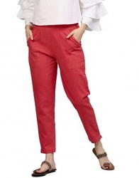 Women's Coral Solid Cotton Slub Pants