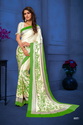 Green And Beige Color Satin Silk Saree