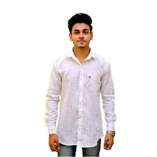 White Base Mens Cotton Printed Shirt
