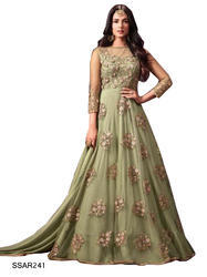 f1377e85fde8 TraditionalFashionDesigner Green Indian Party Wear Gown
