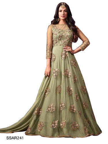 37345b01a5e4 TraditionalFashionDesigner Green Indian Party Wear Gown