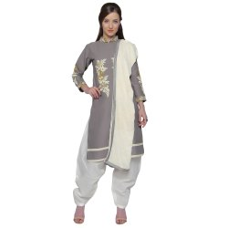 Grey Colored Cotton Embroidery Unstitched Casual Wear Salwar Suit