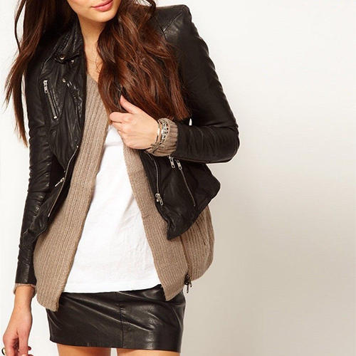 398ef39e109c Women's Black Zip Up Fitted Leather Jacket at Rs 7499 /piece ...