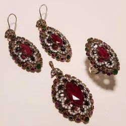 Fancy Pink Stone Turkish Ring Pendant Set