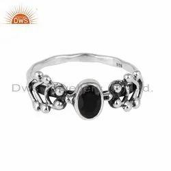 Black Onyx Gemstone Oxidized Silver Ring Jewelry