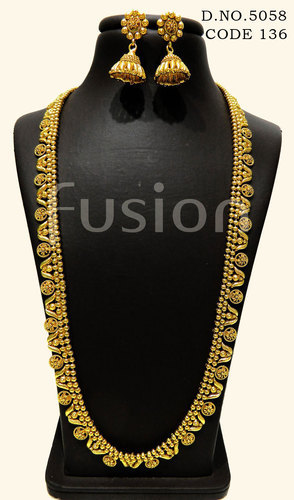 Fusion Traditional South Indian Long Necklace Set Rs 680 Set