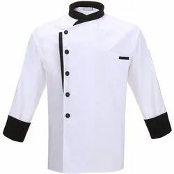 White and Black Cotton Chef Coat, Size: S-XXL