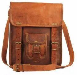 Plain Tan Vintage Leather Tablet Sling Bag, Size: 11