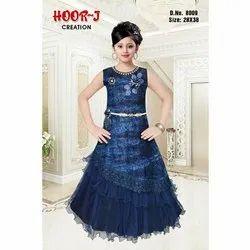 Party Wear Kids Designer Blue Gown