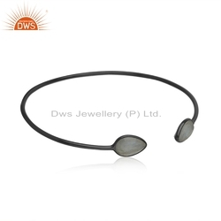Black Rhodium Plated Silver Labradorite Gemstone Cuff Bangle Jewelry