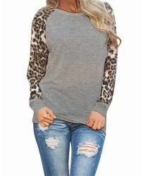 Women's European Leopard Chiffon Sleeve T-shirt