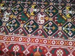 Asid Colour Hand Made Double Iket Patola Saree, 5.5 Mt, Londry Wash