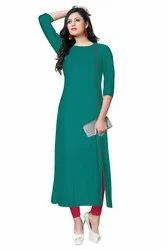 Stretchable Casual Wear Rayon Fancy A- Line Kurti