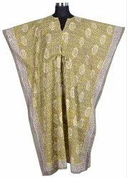 10 Cotton Hand Block Printed Women's Long Kaftan DR580