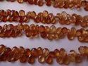 Hessonite Garnet Pear shape Faceted Briolette Beads Strands, Shaded