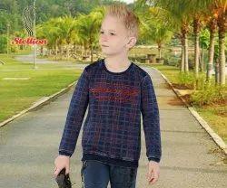 Stellion INDIGO DENIM Kids Full Sleeve Cotton T-Shirt, Size: 1-15 years