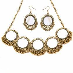 Antique Finish Mirror Choker Necklace Set