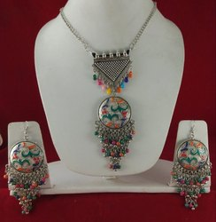NK Stunning Handmade Oxidized Necklace Set Silver Multy