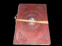 Mandala Embossed Leather Journal with Stone