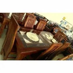 Brown Teak Wooden Dining Table