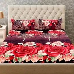 Red Floral Printed 3D Bed Sheets