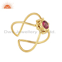 Pink Topaz Gemstone Yellow Gold Plated 925 Silver Rings