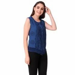 Casual Sleeveless Ladies Embroidered Cotton Top