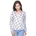 White Surplus Striped Ladies Top