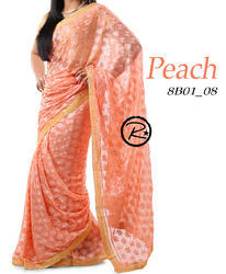 Phulkari Plain Saree