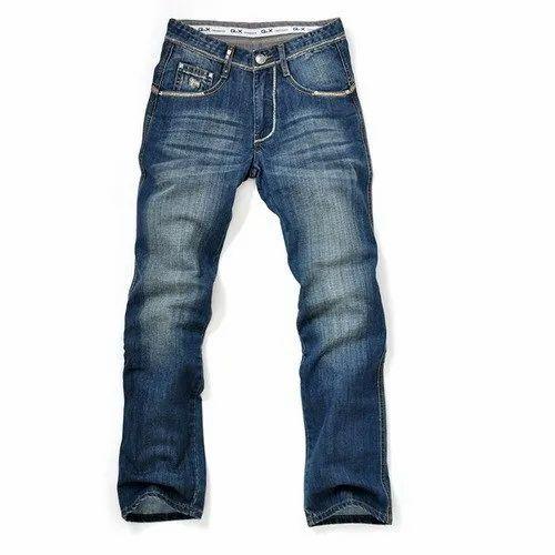 Stretchable Men Blue Faded Denim Jeans, Waist Size: 28-42 Inch