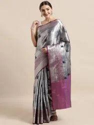Silver Silk Blend Woven Design Kanjeevaram Style Banarasi Saree