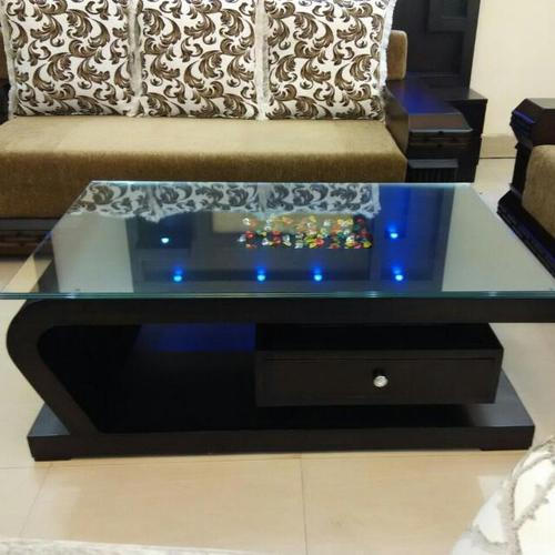 Glass Top Rectangular Brown Wooden Center Table, Rs 12000 ...