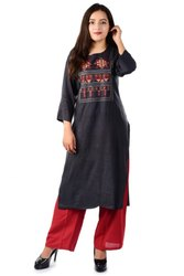 Embroidered Rayon kurti with plazzo