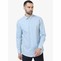 Green Hill Men's Solid Casual Sky Blue Shirt