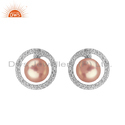 Gray Pearl Cz White Rhodium Plated Silver Round Stud Earrings Jewelry