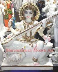 White Marble Sarswati Statue