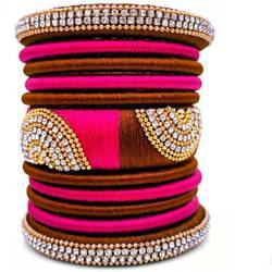 Pink And Brown Silk Thread Bangle Set