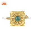 Antique Yellow Gold Plated Silver Natural Emerald Gemstone Rings
