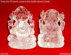 TRANSPARENT Himalaya Rudraksh Sphatik Laxmi Ganesh