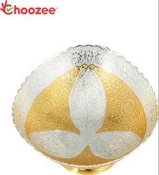 Choozee - Brass Decorative Fruit Bowl Handicrafted Work - Size 7 Beautiful Silver/Gold Plated Kitch