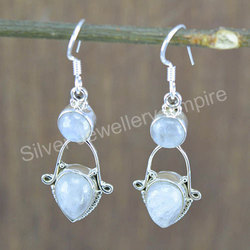 925 Solid Silver Rainbow Moonstone Royal Jewelry Earring