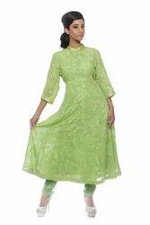 Lime-Green Kali Kurta