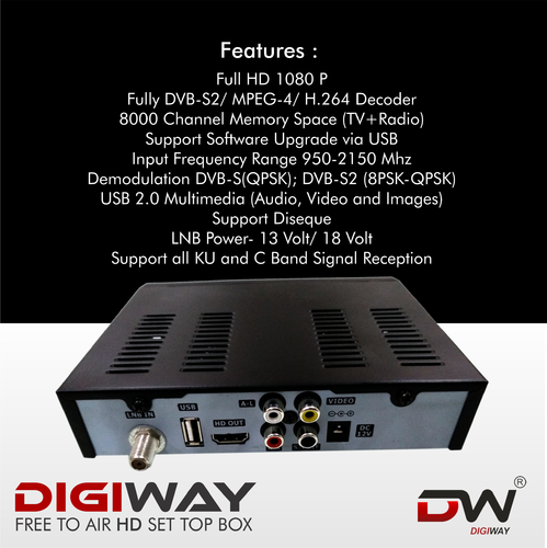Digiway Free To Air Set Top Box DVB-S2, MPEG-4, Full HD With 2 USB(Contact  Only Bulk Buyers Only)