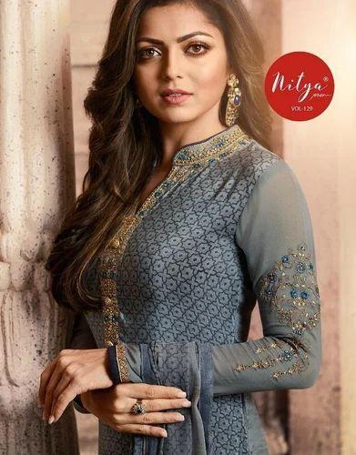 1da1e8530e Pure Crepe Printed With Embroidered Punjabi Suits, Rs 951 /piece ...