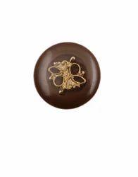 Brown & Golden Shank Coat Button