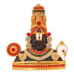 Gold Plated Tirupati Studded with Stones Car Dashboard Idol