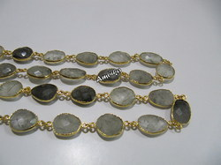 Natural Rutilated Quartz, Briolette Connector Chain