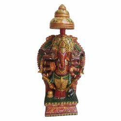 Wooden Painted Panchmukhi Ganesh