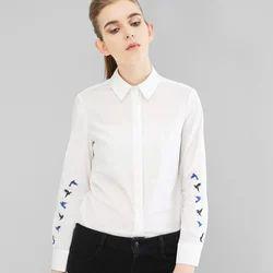 Ladies Cotton Plain Formal Shirts, Size: S, M & L