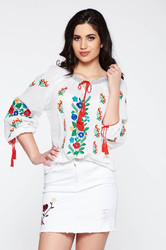 Floral Embroidered Romanian Blouse